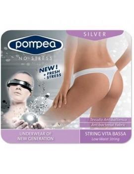 """Perizoma a vita bassa Pompea """"Silver"""", con tassello, in morbida microfibra elasticizzata"""