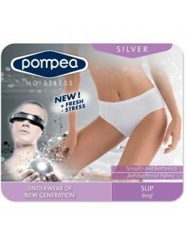 Slip donna pompea silver, sgambato con tassello, in morbida microfibra elasticizzata